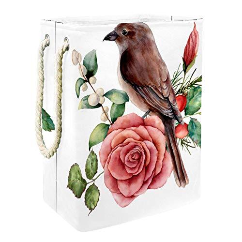 VFSS Cesto grande para la colada con asas, cesta de lavandería impermeable de tela Oxford bolsa de almacenamiento de ropa para el baño, color blanco, marrón
