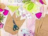Papierdrachen 12 Osterhasen zum selber Basteln und Befüllen - Kreatives Geschenk zu Ostern mit 12 Papiertüten, Kordel und Pompons - für Mädchen - 3