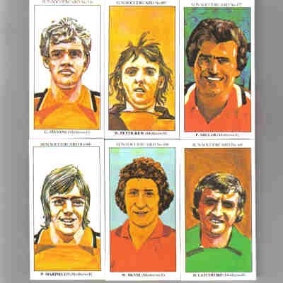 The Sun 70's Soccercards 'Motherwell FC' football cigarette cards x 6