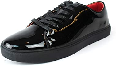 Men's Black Patent Leather Tuxedo Sneakers Red Insole Slip On/Laces