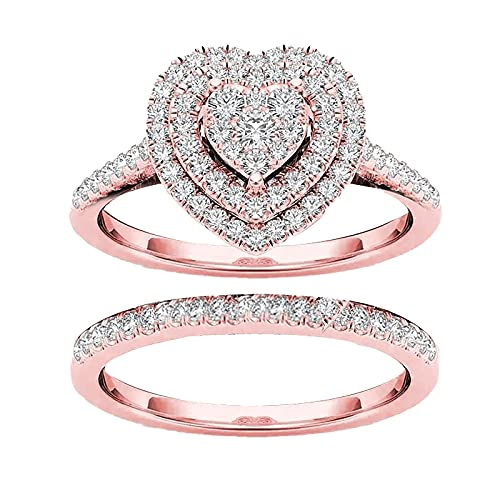 Women Engagement Ring,Love Heart Shaped Full Diamond Love Shaped Ring, Cushion Cut Halo Wedding Rings, WomenFashion Carving Diamond Bridal Ring for Girlfriend,Gift for Valentine's Day (Rose Gold,8)