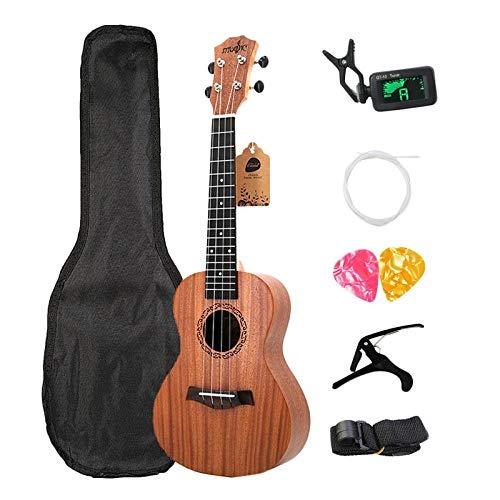 LOIKHGV Geige- Soprano Ukulele Kits 21 Zoll Palisander 4 Saiten Hawaiian Mini Gitarre Mit Tasche Tuner Capo Gurt Stings Picksmusical Instruments, Holz Farbe, 21 Zoll