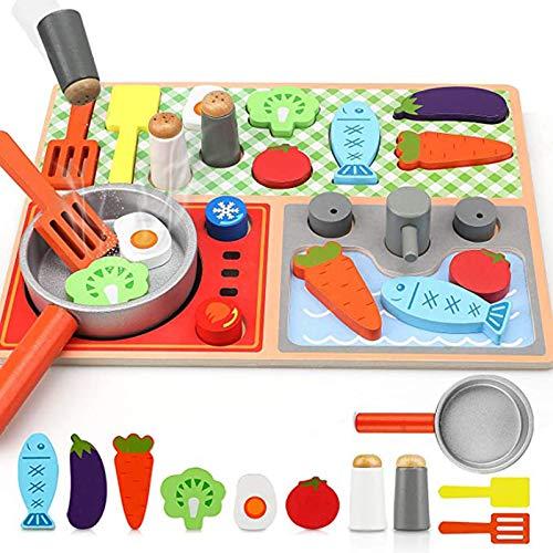Niños Cocina Juego,Divertido Simulación Juguete,No Tóxico Fácil Montar,Duradero,Promueve Coordinación Mano Ojo Creatividad,A