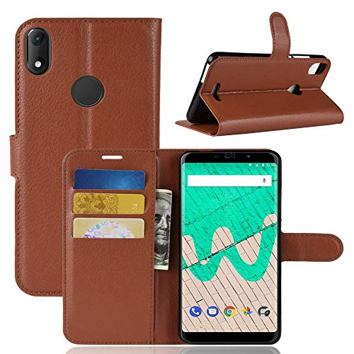 Ycloud Tasche für Wiko View Max Hülle, PU Kunstleder Ledertasche Flip Cover Wallet Hülle Handyhülle mit Stand Function Credit Card Slots Bookstyle Purse Design Braun