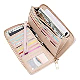 WOZEAH Women's RFID Blocking PU Leather Zip Around Wallet Clutch Large Travel Purse (A pink)