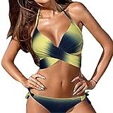 MORCHAN Femme Maillots de Bain Bikini Set Bandage Push-Up Maillot de Bain Rembourré Bain de Plage (XXL, Jaune)