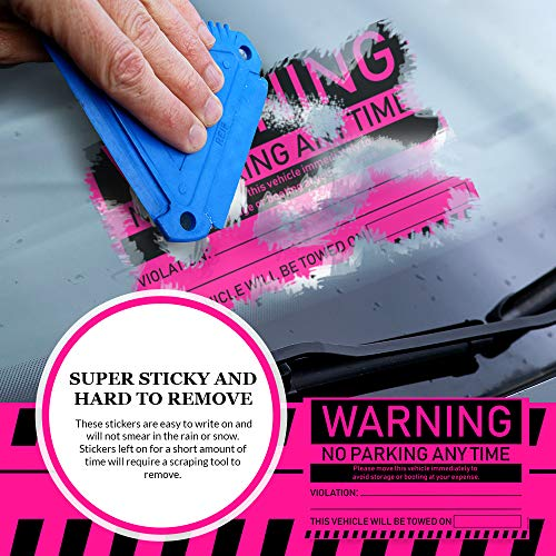 """No Parking Violation Stickers Hard to Remove (Pink) 10-Pack Towing Tags for Illegally Parked Vehicles in Your Lot - Super Sticky Car Permit Notices for Bad or Careless Parking 8"""" x 5"""" by MESS Photo #7"""