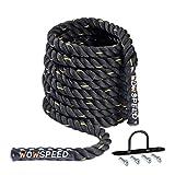 Battle Rope, cuerda de batalla, 9 m diámetro, 38 mm fitness, entrenamiento pesada para casa, gimnasio, desarrollo muscular, fuerza, equitación, escalada