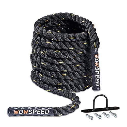 TYCOLIT Cuerda De Batalla Battle Rope - Poliéster Ultra Resistente - Cuerda Fitness Formación Ejercicio para Entrenamiento Pesado De Diámetro De 38MM Longitud De 9M - Ancla Incluida (A)