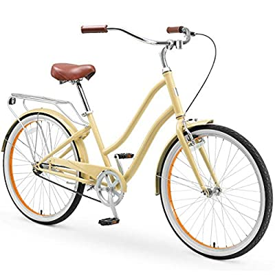 "sixthreezero EVRYjourney Steel Women's Single Speed Step-Through Touring Hybrid Bike, 26"" Bicycle, Cream with Brown Seat and Brown Grips"