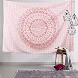 Pink Mandala Tapestry Hippie Boho Tapestry Indian Mandala Tapestries Bohemian Tapestry Wall Hanging Psychedelic Tapestry for Living Room Bedroom
