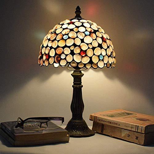 JKUNYU Tiffany - Lámpara de mesa de metal estilo americano retro de bronce, estilo antiguo, para sala de estar, dormitorio, mesita de noche, lámpara de mesa, 30 x 30 x 48 cm, alto sabor