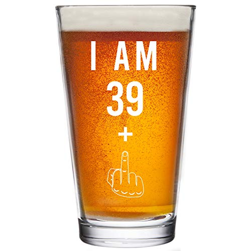39 + One Middle Finger 40th Birthday Gifts for Men Women Beer Glass – Funny 40 Year Old Presents - 16 oz Pint Glasses Party Decorations Supplies - Craft Beers Gift Ideas for Dad Mom Husband Wife 40 th