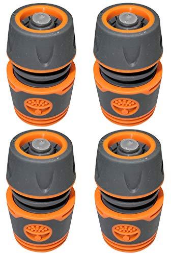 AERZETIX - Juego de 4 Conectores/acopladores 1/2'' rápido con Parada de Agua para Manguera de riego - Racor/Adaptador para Grifo - plástico ABS - C47479