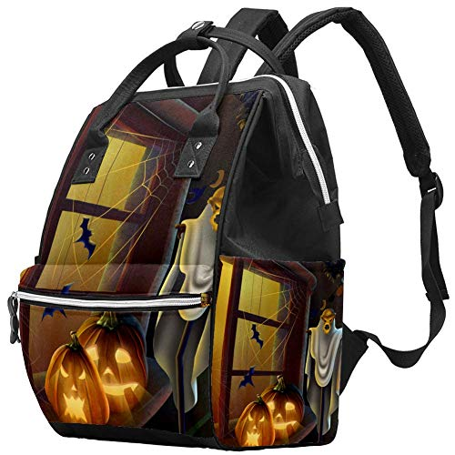 Halloween Windows Pumpkin Lantern Ghost Bat Diaper Bag Laptop Backpacks Notebook Rucksack Travel Hiking Daypack for Women Men
