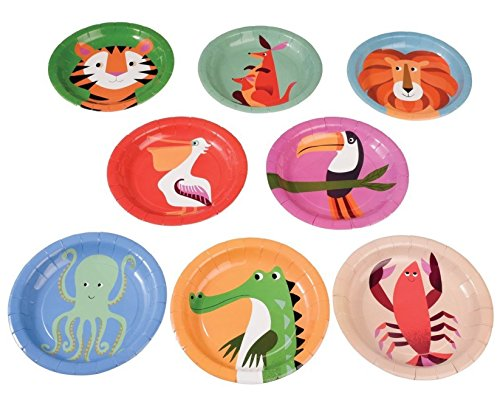 dotcomgiftshop Pappteller 26530 8 Stück Colourful Creatures
