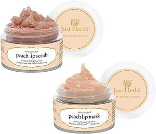 Just Herbs Ayurvedic & Vegan Peach Lip Scrub & Lip Mask duo pack for Chapped, Pigmented & Dark lips, 30gm