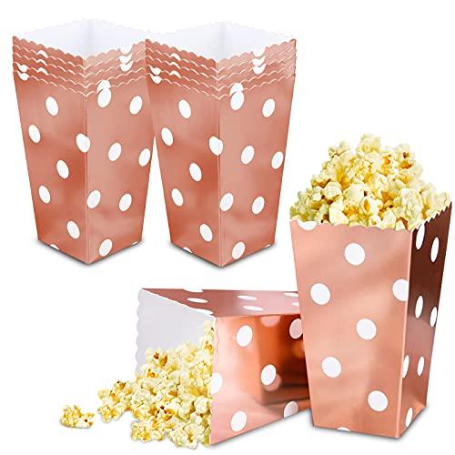 VAINECHAY 12pcs Catole di Popcorn Contenitori di Popcorn Caramelle Spuntini del Partito Dolci Popcorn e Regali Rosa per Feste Movie Nights Carnival Christmas Oro Rosa Punto