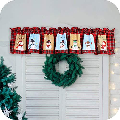 Wmbetter Snowman Window Valance Xmas Valance Christmas Curtains 72 x 14 Inch Plaid Valance Cardinal Window Curtain for Christmas Decor