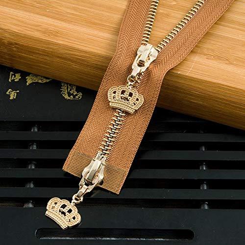 SHIM Copper Zip Einzelkopf offenes Ende Reißverschluss doppelte Öffnung Legierung Crown Dekoration Puller Vorderzahn Zipper Zubehör Garment Camel Goldzahn 85cm Einzelkopf