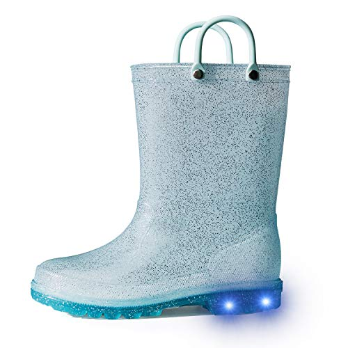 K KomForme Kids Rain Boots, Waterproof Light up Boots with Easy-on Handles Blue 2