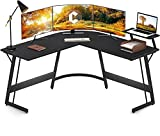 Cubiker Modern L-Shaped Desk Computer Corner Desk, PC Laptop Writing Study Desk for Home Office Wood & Metal
