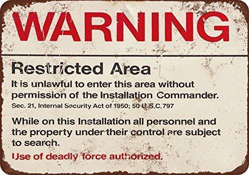 9Ginkgo& New Tin Sign Retro Warning Restricted Military Area 51 Vintage Funny Metal Sign 8 X 12 Inch