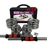 SimpleL Adjustable Dumbbells Set of 2, 44 LB / 66 LB / 110 LB Home Weight Lifting Professional Dumbbells for Body Workout Home Gym Fitness with Carry Case (66 LB)
