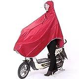 SyuuYou 自転車レインコート ポンチョ レイン ポンチョ型 大きいツバ 厚手生地 雨具 男女兼用 フリーサイズ (レッド)