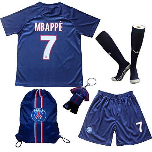 TMB Apparel 2019/2020 Paris #7 K. MBAPPE Heim Kinder Fußball Trikot Hose und Socken Kindergrößen (Heim, 28 (11-12 Jahre))