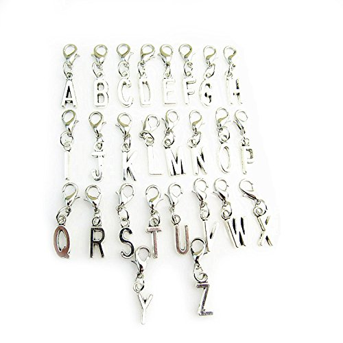 50778f36a jewelleryjoy Clip On A-Z Alphabet Initial Letters Charms Pendant for  Bracelet Necklace in Organza Gift Bag