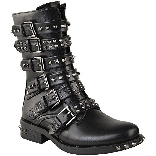Fashion Thirsty Mujer Tachuela Botines Hebilla Vaquero Motero Tiras Zapato Plano Talla