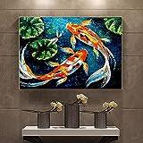 Cuadros decorativos Póster de carpa Koi de peces, pintura al óleo de animales en lienzo, impresiones...