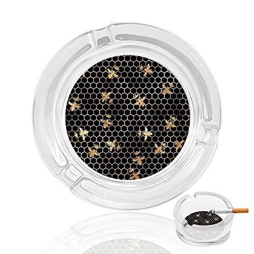 Cenicero de cigarrillo de cristal transparente antideslizante, bandeja redonda utilizada para fumadores en casa, oficina, jardín, decoración y regalo, abejas reinas doradas y panal en negro