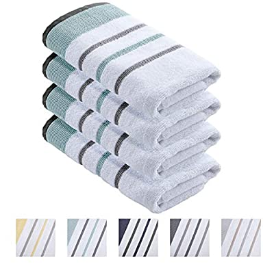 100% Turkish Cotton, Striped Hand Towel Set (16 x 30 inches) Oversized Decorative Luxury Hand Towels. Noelle Collection (Set of 4, Eucalyptus/Grey)