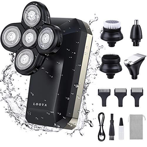 Rasierer Herren Elektrisch, LOOYA 5 IN 1 Glatzen Rasierer 4D Rasierapparat mit LCD Display Präzisionstrimmer Bartschneider Nass und Trockenrasierer Herren Elektrorasierer 100% Wasserdicht
