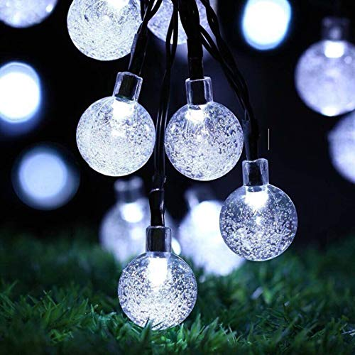 Guirnalda de Luces Solares para Exteriores, 24 pies, 50 LED, Luces Solares de Jardín, Impermeable, Bola de Cristal, Luces Decorativas para El Hogar, Fiesta, Navidad, Festival(Blanco)