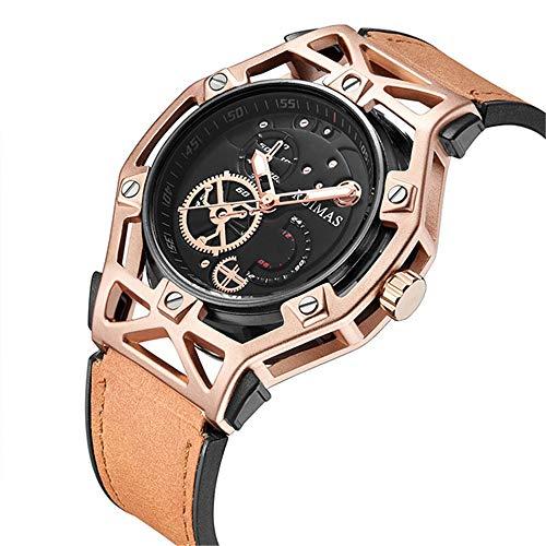 Reloj de Hombre Negro de Moda Vestido de diseñador Luces Militares Relojes de Cuero clásico Reloj de Pulsera para Hombres