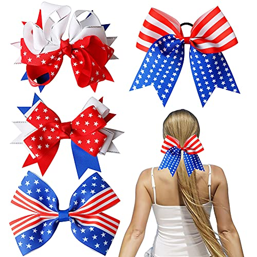 YACHIC 4th of July American Flag Patriotic Girls Hair Bows Hair Clips, 4-Pack National Day Independence Day Girls Hair Pins Red Blue and White Hair Accessories with Elastic Band Party Supplies