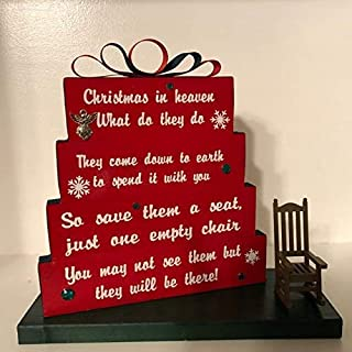 Christmas in Heaven, Christmas Red with red and green ribbon, green rhinestones and snowflakes with small Rocking chair