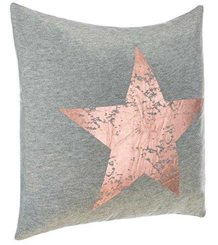 Cojín Couch Cojín Diseño Cojín Estrella Impresión - con Relleno Agradable y Suave, poliéster, Gris/Cobre, Aprox.45x45 cm
