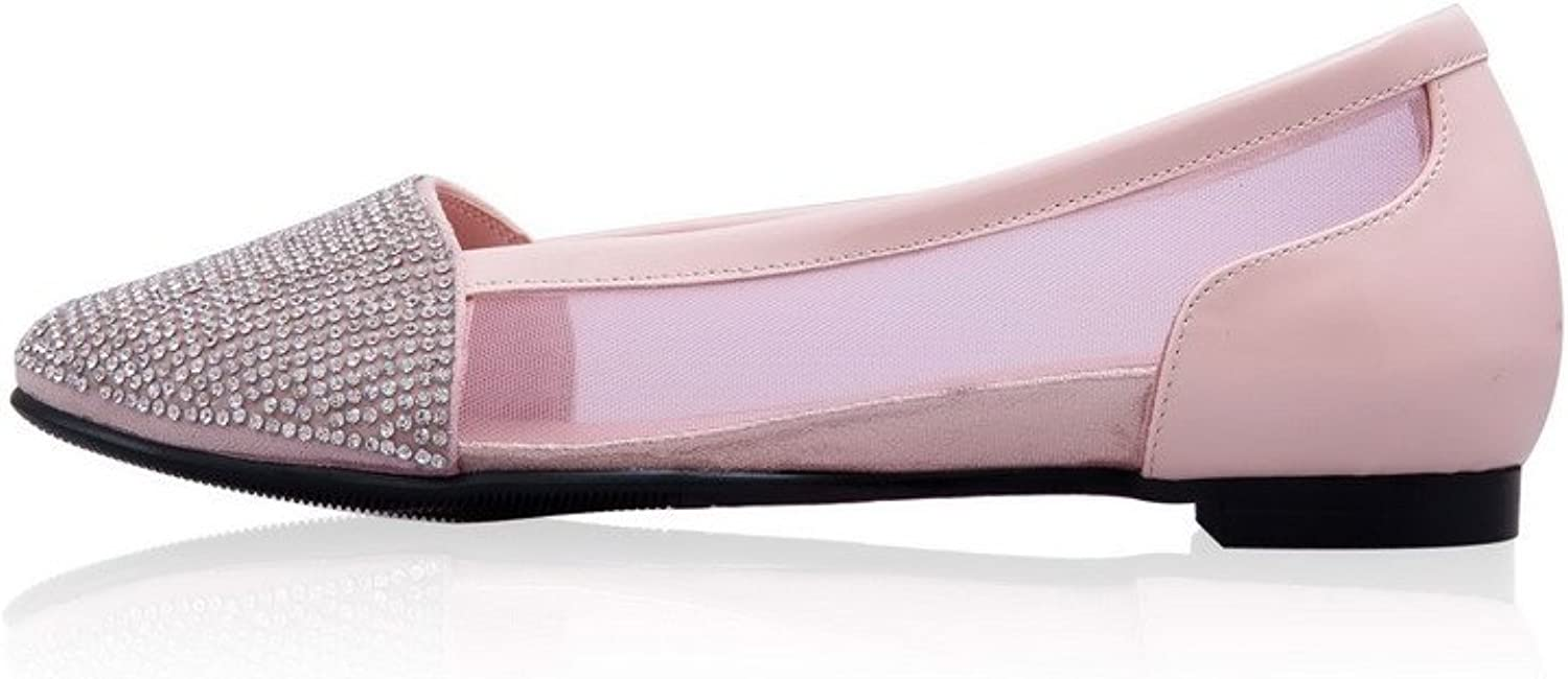 WeiPoot Women Closed Toe Pointed Toe Low Heel Cow Leather Patent Leather Solid Sandals, Pink, 7.5 B(M) US