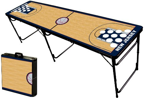 Sale!! 8-Foot Professional Beer Pong Table w/Holes - Brooklyn Basketball Court Graphic