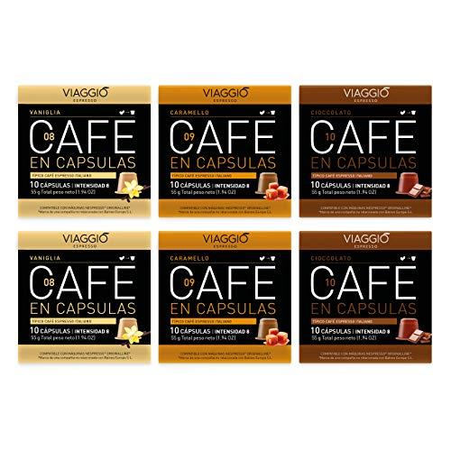 Viaggio Espresso Cápsulas de café compatibles con máquinas Nespresso Selección con sabor (60 Cápsulas)