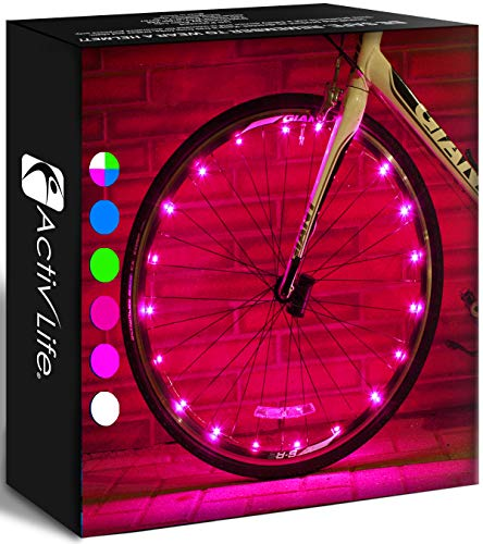 Activ Life 2 Tire Pack Pink Bike Fairy Lights - Top Birth Day Gifts for Women & Easter Presents for Girls. Best Unique Valentines Gifts for Her Wife Mom Friend Sister Girlfriend & Popular Aunts
