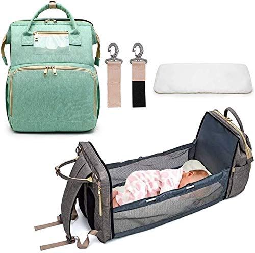 3-1 Baby Changing Bag Backpack Portable Changing Bag Waterproof Baby Carrier Cradle Multifunction Convertible Crib Storage Bag with Sponge Mat (Color : Green)