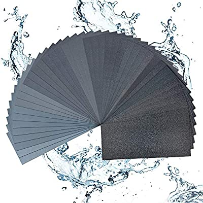 42 Pcs Sand Paper, Abrasive Paper, 120 To 3000 Grit Wet Dry Sandpaper, 9x3.6 Inch Waterproof Abrasive Emery Sanding Paper Sheets for Wood Car Metal Plastic Glass Polishing Drywall Automotive Sandpaper