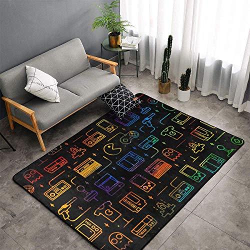 Jacklee Teppich | Game Video Gaming Pattern Blackes | für Wohnzimmer, Schlafzimmer, Kindergarten | Pastell (150cm x 100cm)