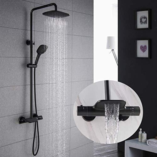 Thermostatische douchesysteem, zwart blootgesteld douche mixer Thermostatische Set met waterval bad vulmachine, regen douchekop en handdouche, PHASAT SB05