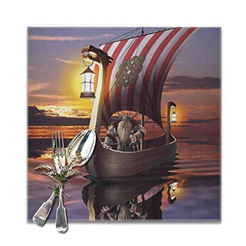 Strawberryran Wikinger EIN Krieger in einem Schiff Dämmerung Barbar Nordic Skandinavische Kultur Meer Thema Kunstwerk Druck 12 X 18 im 4er-Set